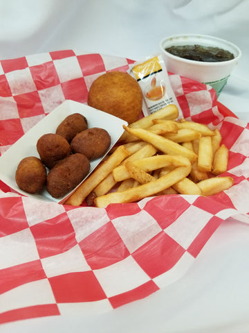 4 Corn Dog Bites, Choice of a Vegetable, 1 Puff, 1 Small Drink