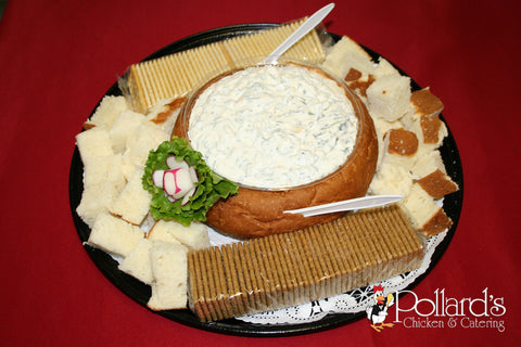 Hawaiian Bread Round Hollowed with Spinach Dip