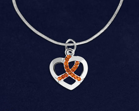 MS Crystal Orange Ribbon Silver Heart Necklace