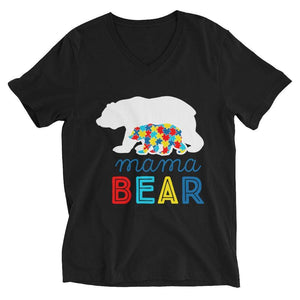 """Mama Bear"" Autism Awareness V-Neck T-Shirt The Awareness Expo Autism"
