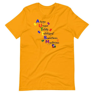 Always Unique Totally Intelligent Sometimes Mysterious T-Shirt The Awareness Expo Autism