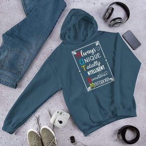 Always Unique Totally Intelligent Sometimes Mysterious Autism Hoodie The Awareness Expo Autism