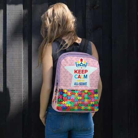 """Keep Calm and be Au-some""  Autism Awareness Backpack The Awareness Expo Autism"