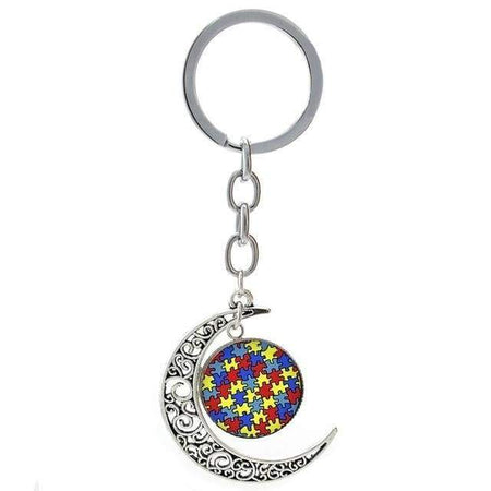 Puzzle Piece Moon Pendant Autism Awareness Key Chain The Awareness Expo Autism