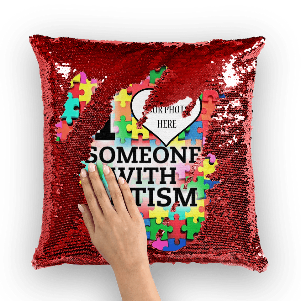 I Love Someone With Autism Personalized Sequin Pillow alloverprint.it Autism