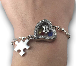 Sterling Silver Floating Charms Autism Bracelet The Awareness Expo Autism