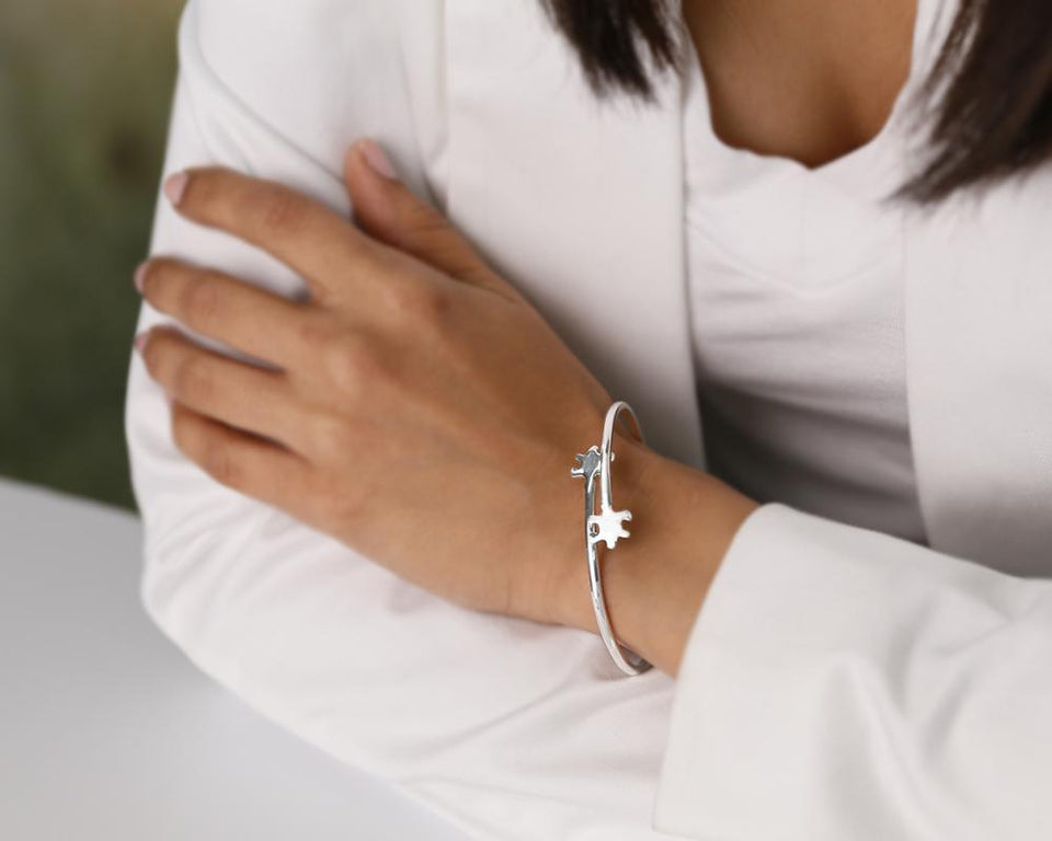 Autism Awareness Double Puzzle Piece Bangle Bracelet