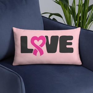 """Love"" Pink Breast Cancer Pillow The Awareness Expo Breast Cancer"