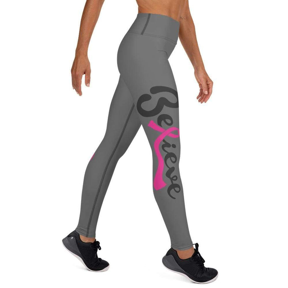 """Believe"" Mirrored Grey Breast Cancer Yoga Leggings The Awareness Expo Breast Cancer"