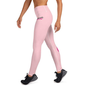 """Believe"" Pink Breast Cancer Yoga Leggings The Awareness Expo Breast Cancer"