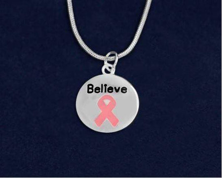 Believe Pink Ribbon Circle Charm Necklace The Awareness Expo Breast Cancer