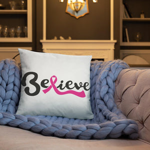 """Believe"" White Breast Cancer Pillow The Awareness Expo Breast Cancer"