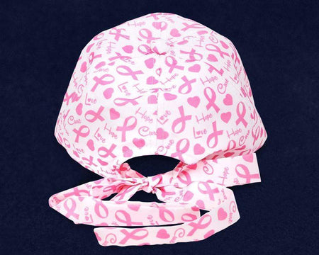 Breast Cancer Awareness Hat - White With Pink Ribbon Pattern The Awareness Expo Breast Cancer