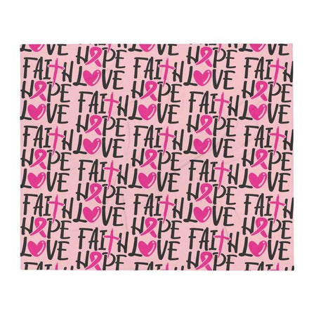"""Faith Love Hope"" Pink Breast Cancer Awareness Throw Blanket The Awareness Expo Breast Cancer"