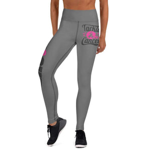 """Fight"" Grey Football Breast Cancer Yoga Leggings The Awareness Expo Breast Cancer"