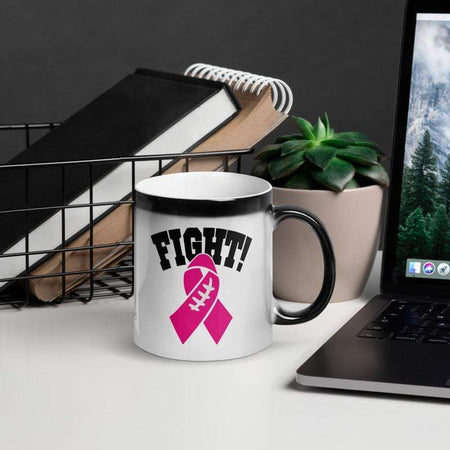 """Fight"" Pink Football Ribbon Glossy Magic Mug The Awareness Expo Breast Cancer"