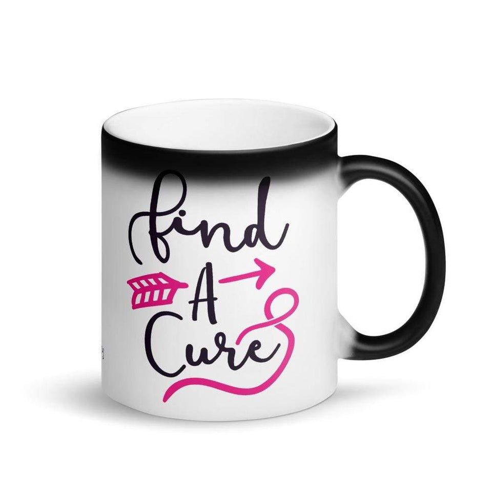 """Find A Cure"" Matte Black Magic Mug The Awareness Expo Breast Cancer"