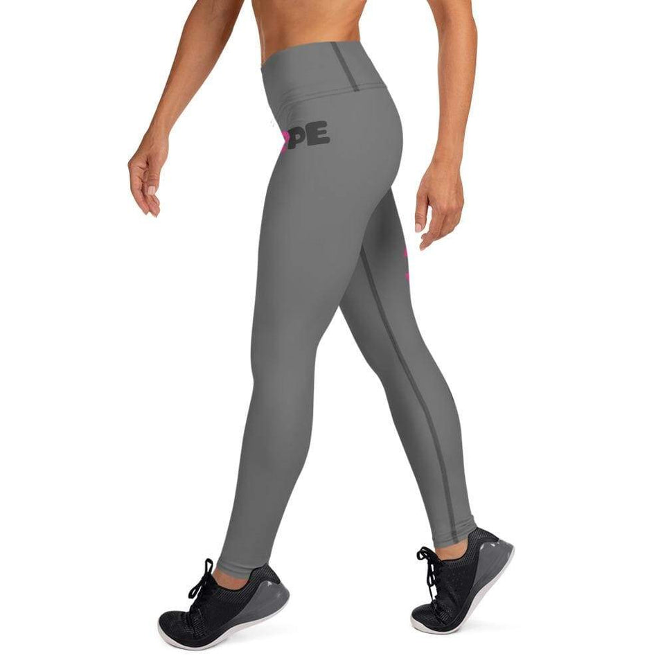 """Hope"" Grey Breast Cancer Yoga Leggings The Awareness Expo Breast Cancer"