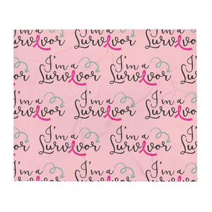 """I'm A Survivor"" Pink Breast Cancer Throw Blanket The Awareness Expo Breast Cancer"