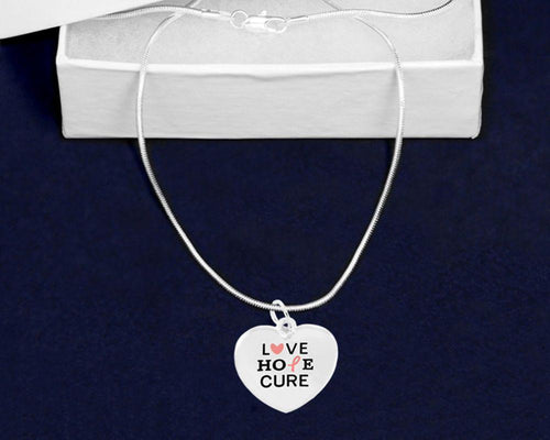 Love Hope Cure Pink Ribbon Heart Charm Necklace The Awareness Expo Breast Cancer