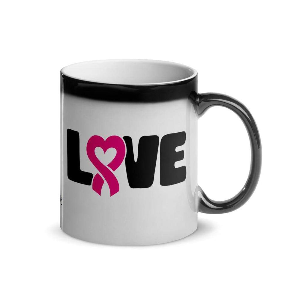 """Love"" Pink Heart Ribbon Glossy Magic Mug The Awareness Expo Breast Cancer"