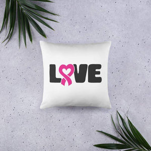 """Love"" White Breast Cancer Pillow The Awareness Expo Breast Cancer"