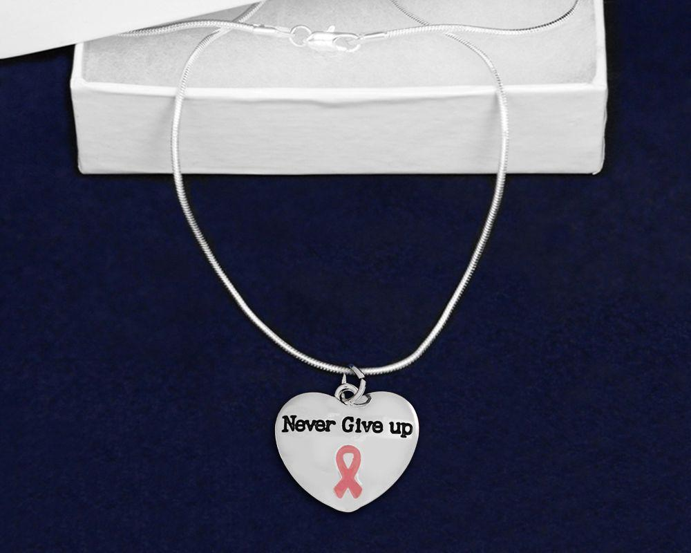 Never Give Up Pink Ribbon Heart Charm Necklace The Awareness Expo Breast Cancer