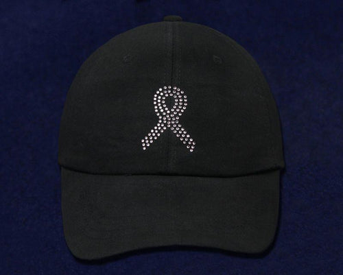 Pink Crystal Ribbon Baseball Hat in Black The Awareness Expo Breast Cancer