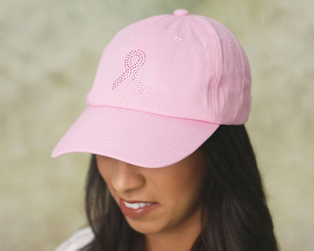Pink Crystal Ribbon Baseball Hats in Pink The Awareness Expo Breast Cancer