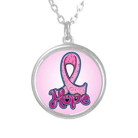 "Pink Ribbon ""HOPE"" Breast Cancer Necklace The Awareness Expo Breast Cancer"