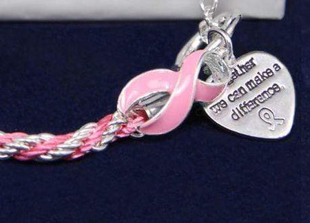 Rope Style Pink Ribbon Bracelet The Awareness Expo Breast Cancer