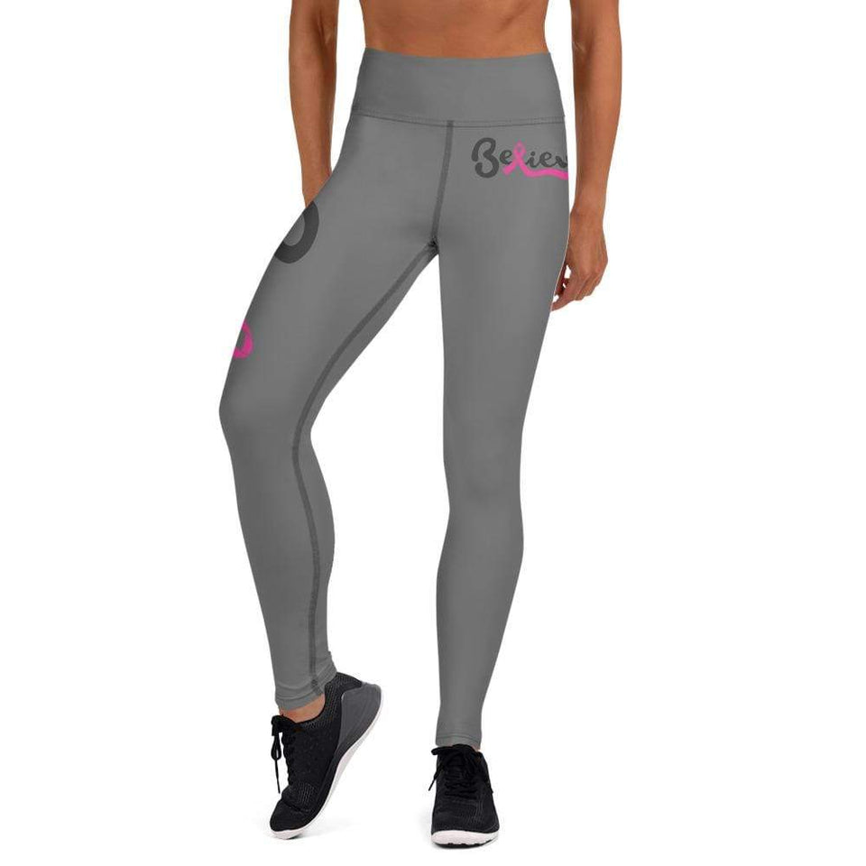 """Believe"" Grey Breast Cancer Yoga Leggings The Awareness Expo Breast Cancer"