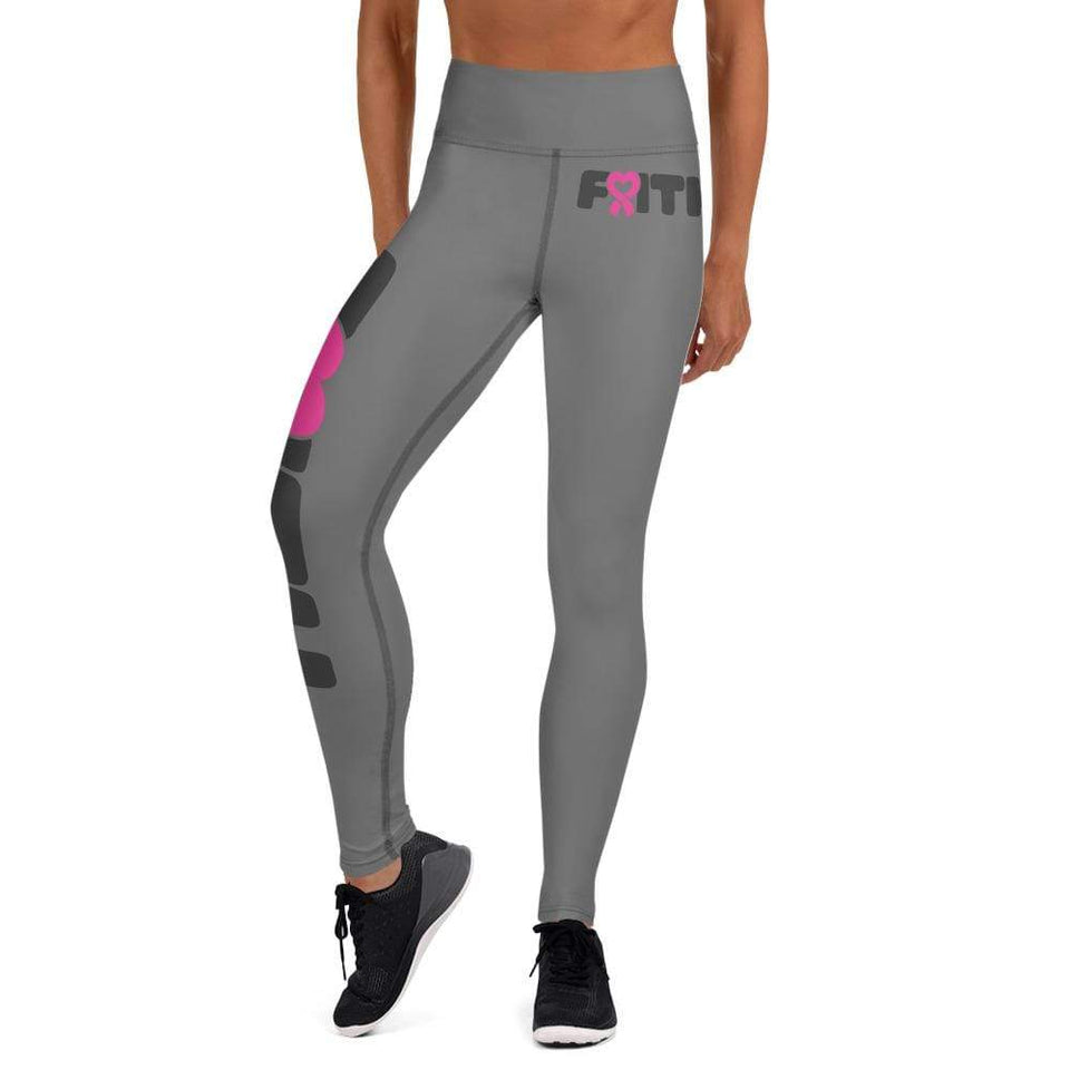 """Faith"" Grey Breast Cancer Yoga Leggings The Awareness Expo Breast Cancer"