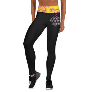 """Fighter"" Black Breast Cancer Yoga Leggings The Awareness Expo Breast Cancer"