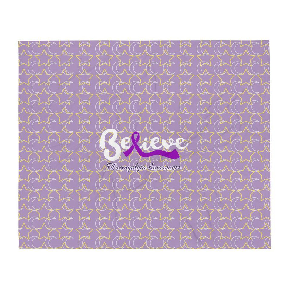 """Believe"" Fibromyalgia Awareness Throw Blanket The Awareness Expo Fibromyalgia"
