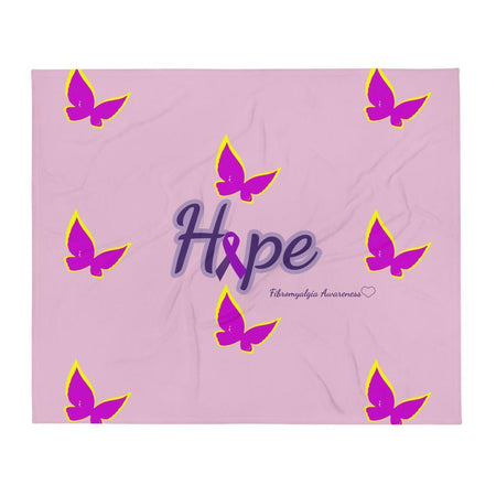 """Hope"" Purple Ribbon Fibromyalgia Throw Blanket The Awareness Expo Fibromyalgia"