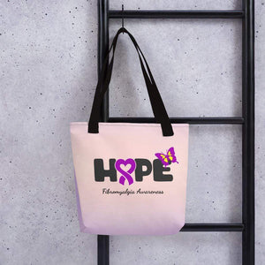 """Hope"" Purple Ribbon Fibromyalgia Tote bag The Awareness Expo Fibromyalgia"