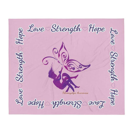 """Love Strength Hope"" Fibromyalgia Awareness Throw Blanket The Awareness Expo Fibromyalgia"