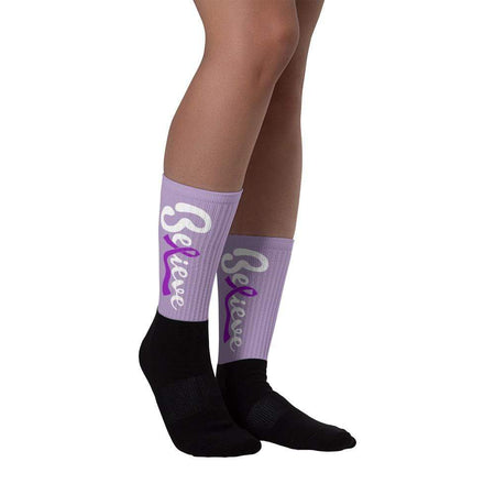 """Believe"" Purple Ribbon Socks The Awareness Expo Fibromyalgia"