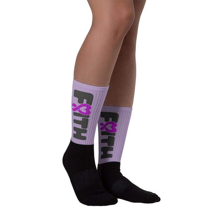 "Purple Ribbon ""Faith"" Awareness Socks The Awareness Expo Fibromyalgia"