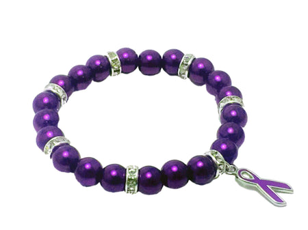 Purple Ribbon Fibromyalgia Awareness Glass Bead Bracelet The Awareness Expo Fibromyalgia