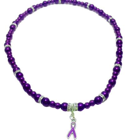 Purple Ribbon Fibromyalgia Awareness Glass Bead Necklace The Awareness Expo Fibromyalgia