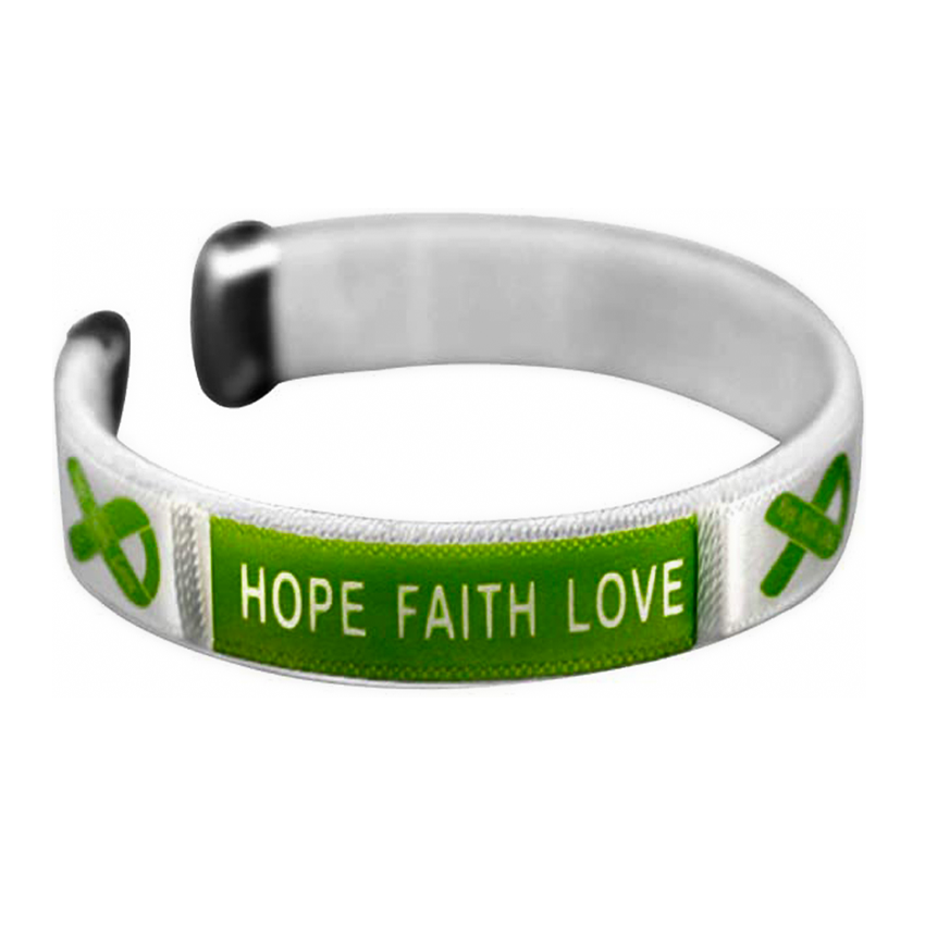 """Hope, Faith, Love"" Green Ribbon Bangle Bracelet"