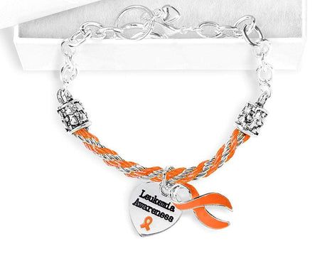 Leukemia Awareness Orange Ribbon Partial Rope Charm Bracelet The Awareness Expo Leukemia