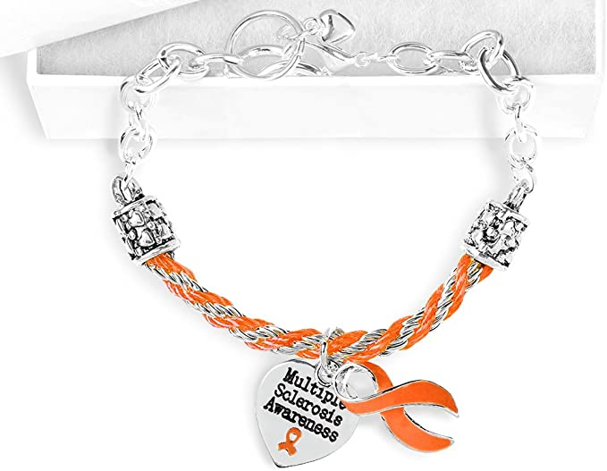 M.S. Orange Ribbon Partial Rope Bracelet