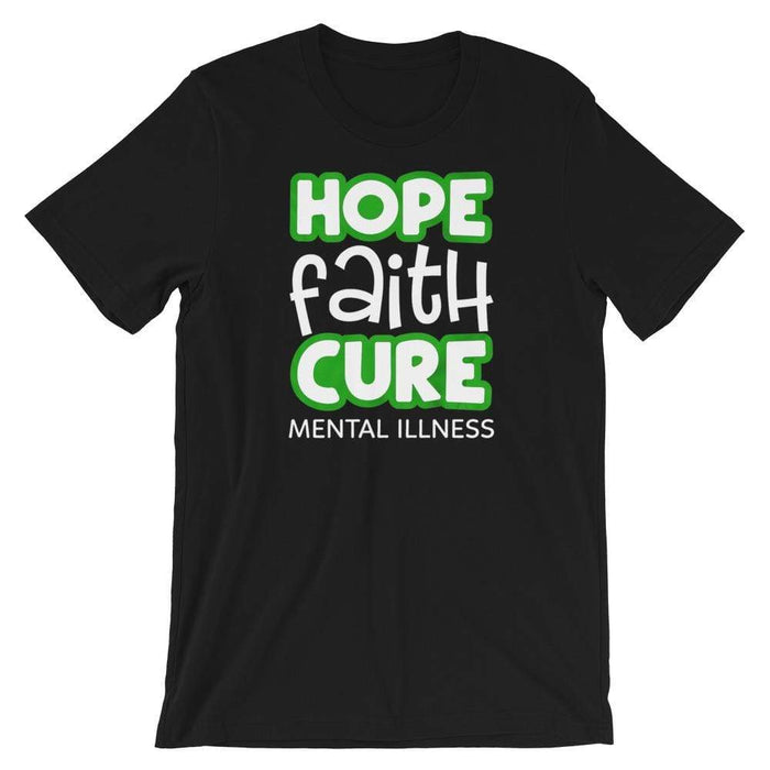 Hope, Faith, Cure Mental Health Awareness T-Shirt The Awareness Expo Mental Health