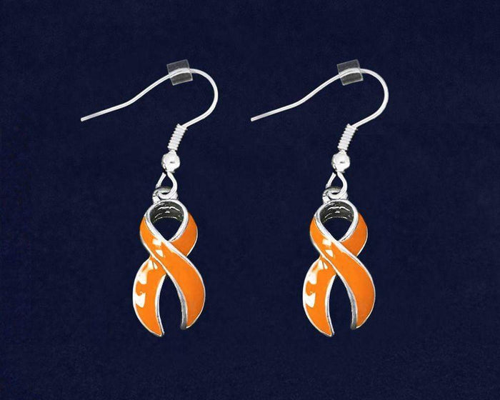 Large Orange Ribbon MS Awareness Earrings The Awareness Expo Multiple Sclerosis