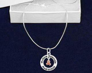 Silver Round Multiple Sclerosis Awareness Necklace The Awareness Expo Multiple Sclerosis