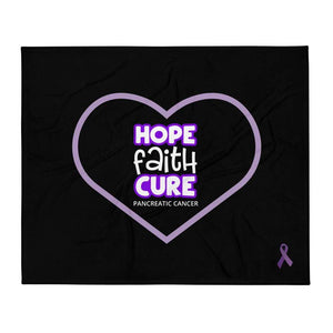 """Hope Faith Cure"" Heart Pancreatic Cancer Throw Blanket The Awareness Expo Pancreatic Cancer"