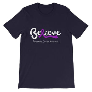 """Believe"" Pancreatic Cancer Dark T-Shirts The Awareness Expo Pancreatic Cancer"